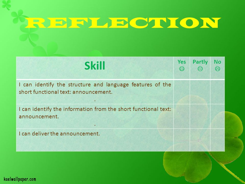 REFLECTION Skill Yes  Partly  No 