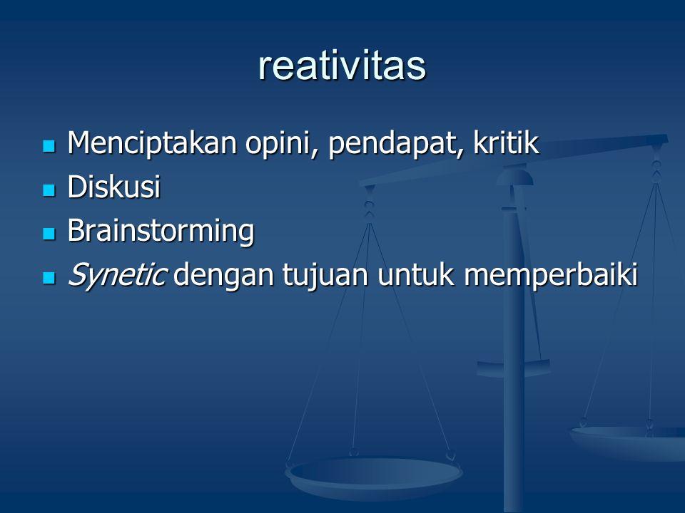 reativitas Menciptakan opini, pendapat, kritik Diskusi Brainstorming