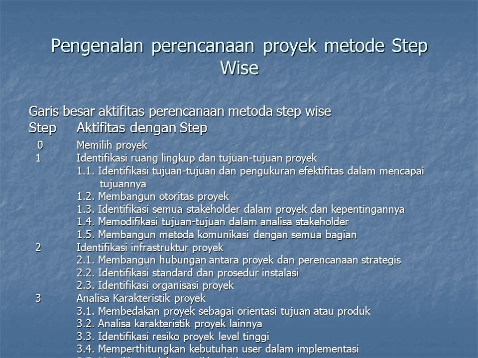 Pengenalan perencanaan proyek metode Step Wise