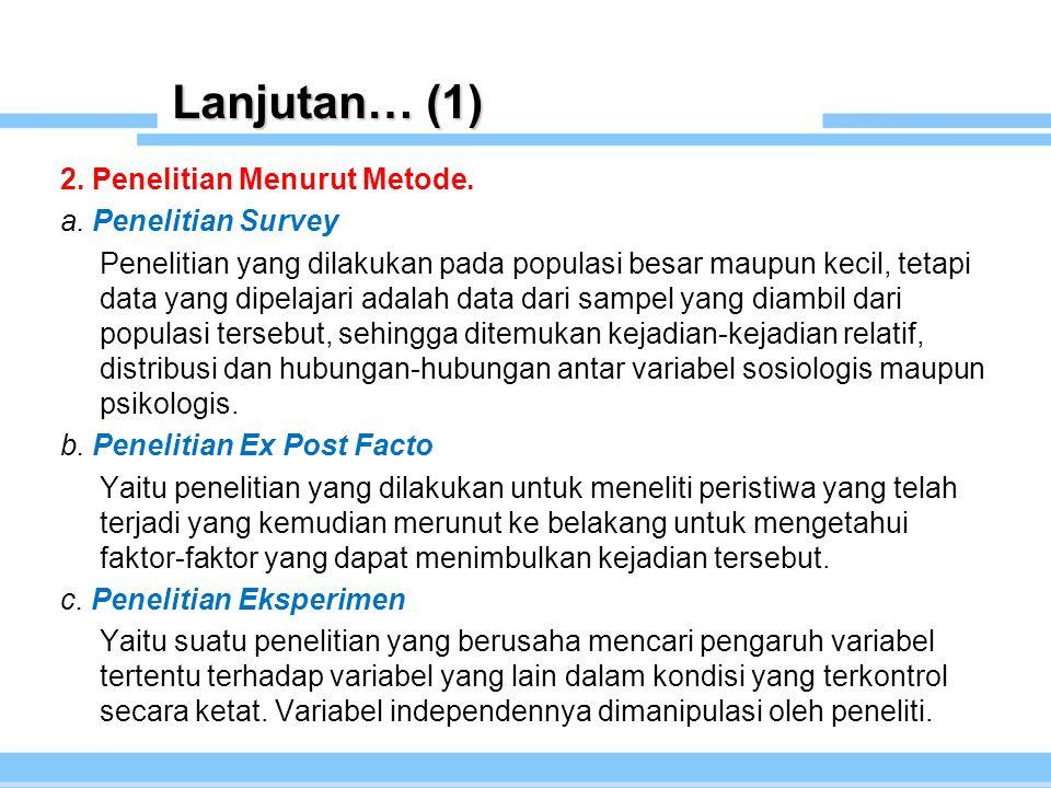 Lanjutan… (1) 2. Penelitian Menurut Metode. a. Penelitian Survey