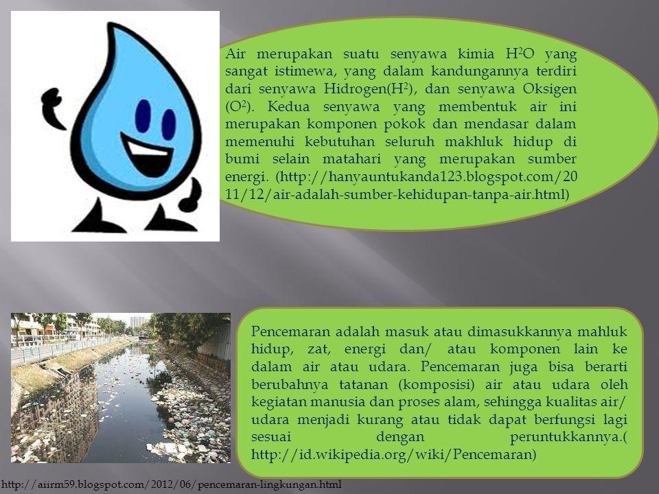 Air merupakan suatu senyawa kimia H2O yang sangat istimewa, yang dalam kandungannya terdiri dari senyawa Hidrogen(H2), dan senyawa Oksigen (O2). Kedua senyawa yang membentuk air ini merupakan komponen pokok dan mendasar dalam memenuhi kebutuhan seluruh makhluk hidup di bumi selain matahari yang merupakan sumber energi. (http://hanyauntukanda123.blogspot.com/2011/12/air-adalah-sumber-kehidupan-tanpa-air.html)