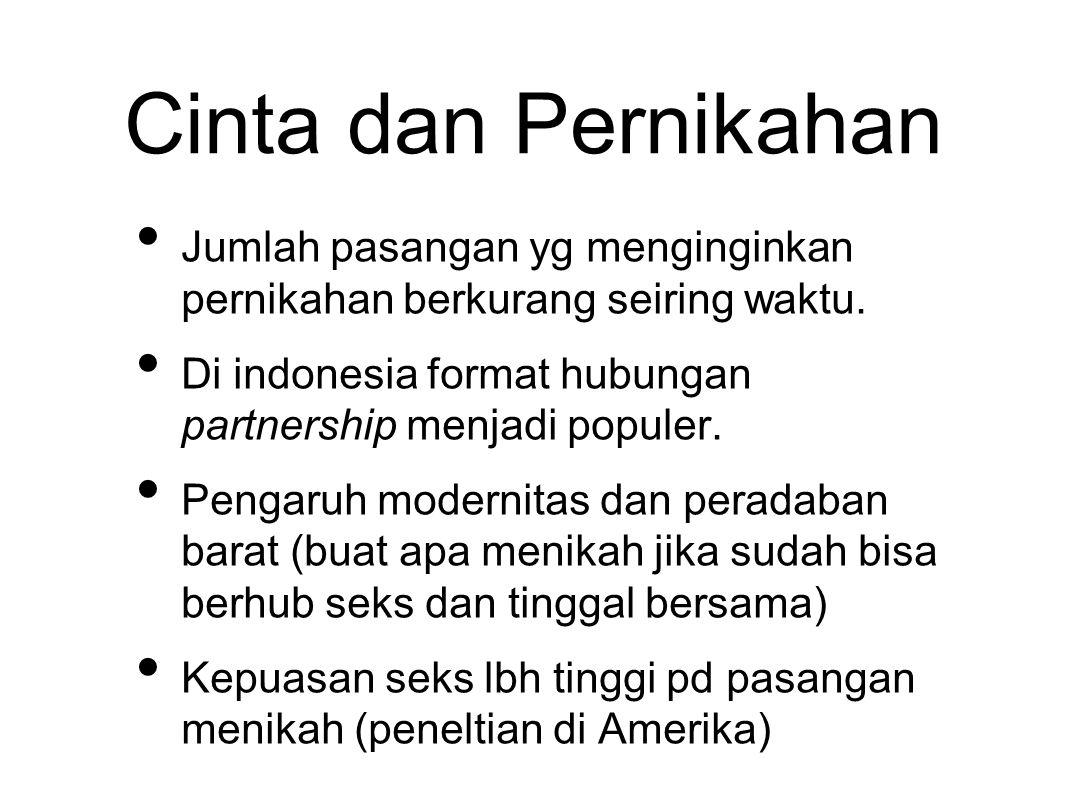 Cinta dan Pernikahan Jumlah pasangan yg menginginkan pernikahan berkurang seiring waktu. Di indonesia format hubungan partnership menjadi populer.