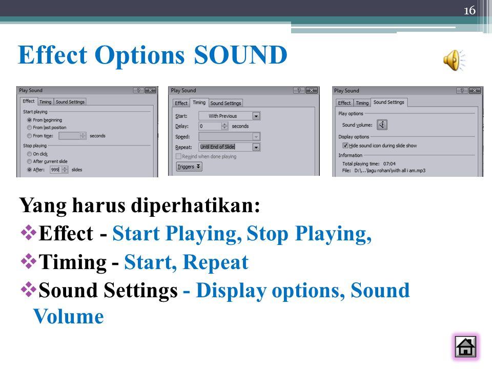 Effect Options SOUND Yang harus diperhatikan: