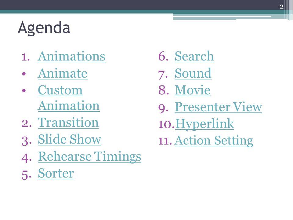 Agenda Animations Animate Custom Animation Transition Slide Show