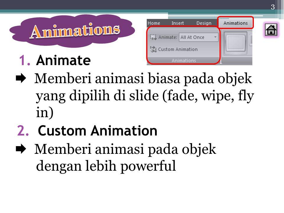 Animations Animate.  Memberi animasi biasa pada objek yang dipilih di slide (fade, wipe, fly in)