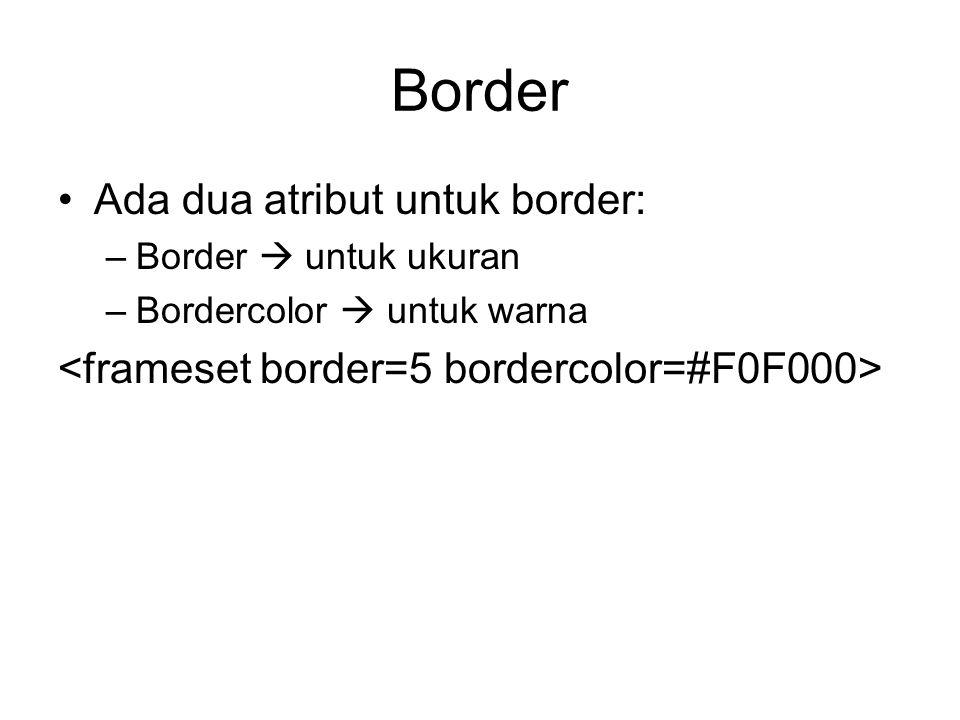 Border Ada dua atribut untuk border:
