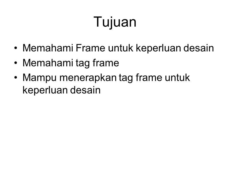 Tujuan Memahami Frame untuk keperluan desain Memahami tag frame