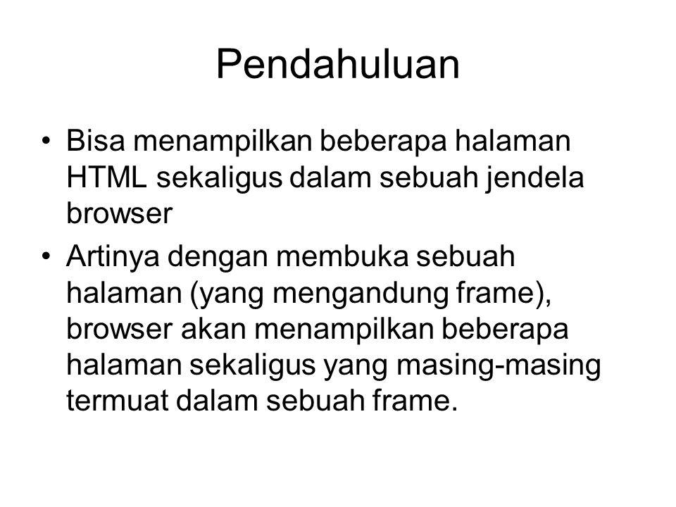 Pendahuluan Bisa menampilkan beberapa halaman HTML sekaligus dalam sebuah jendela browser.