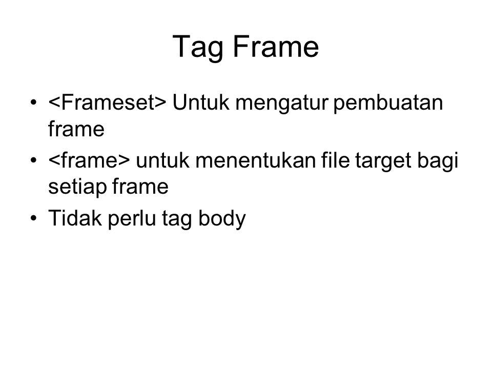Tag Frame <Frameset> Untuk mengatur pembuatan frame