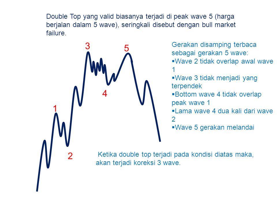 Double Top yang valid biasanya terjadi di peak wave 5 (harga berjalan dalam 5 wave), seringkali disebut dengan bull market failure.