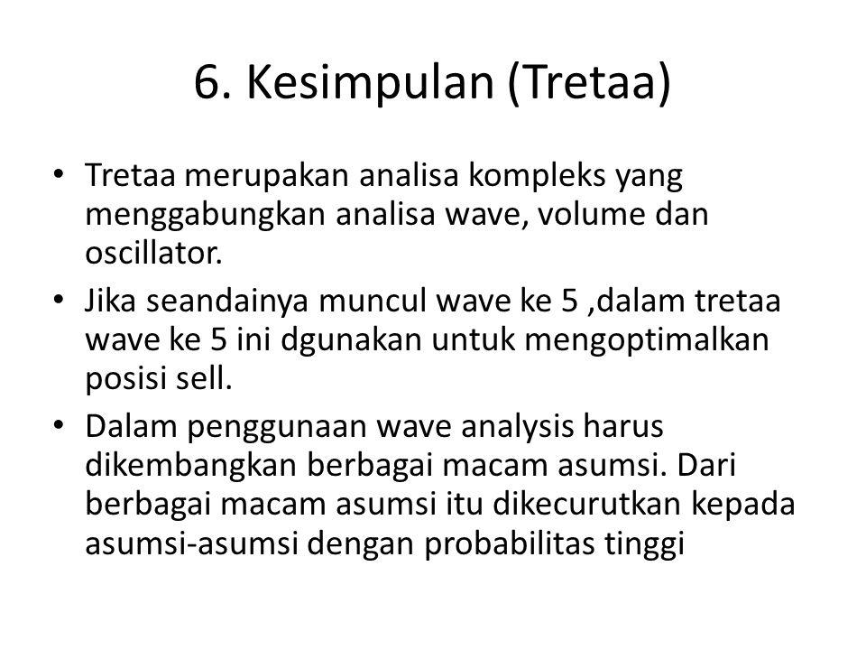 6. Kesimpulan (Tretaa) Tretaa merupakan analisa kompleks yang menggabungkan analisa wave, volume dan oscillator.