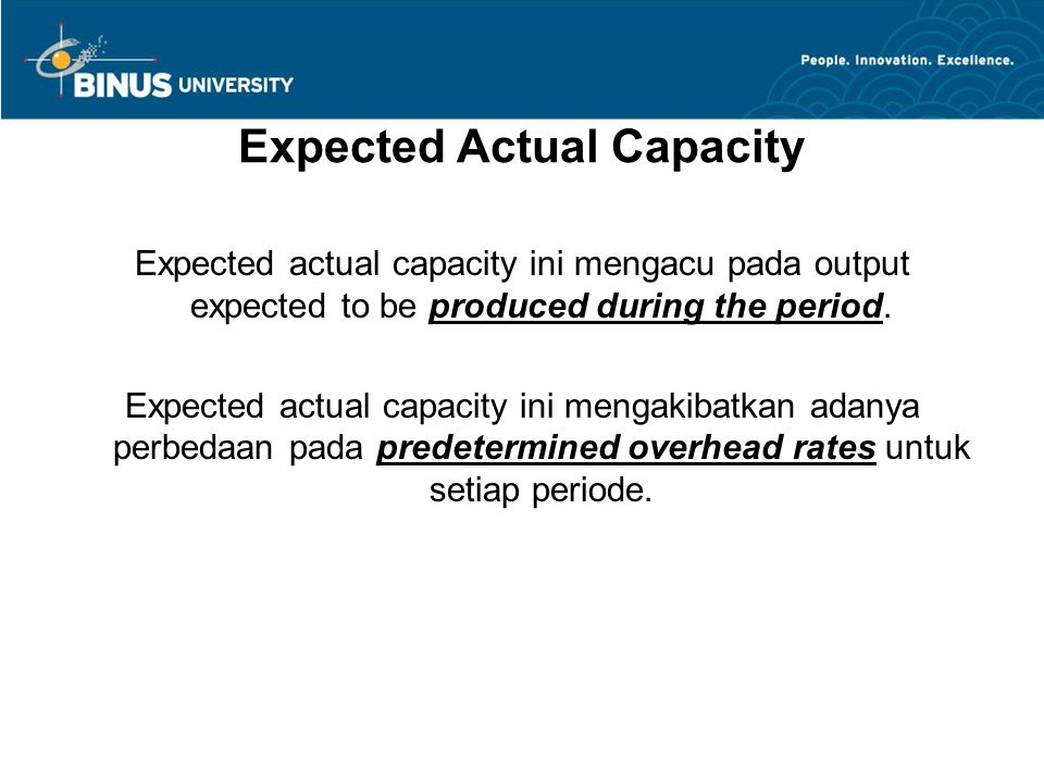 Expected Actual Capacity
