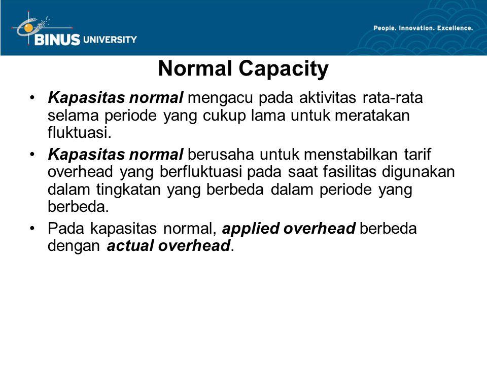 Normal Capacity Kapasitas normal mengacu pada aktivitas rata-rata selama periode yang cukup lama untuk meratakan fluktuasi.