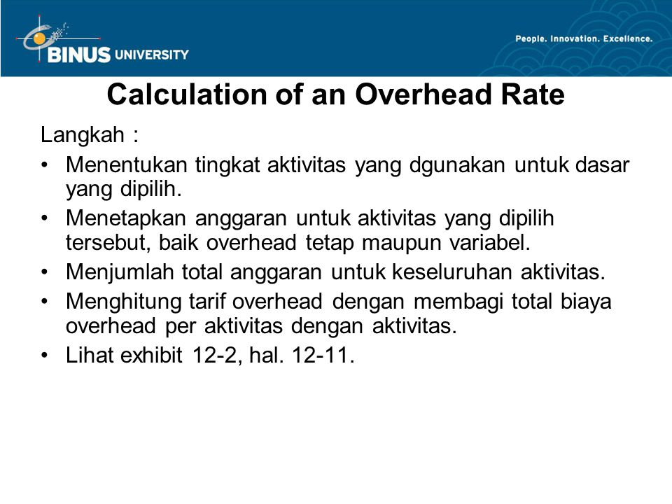 Calculation of an Overhead Rate