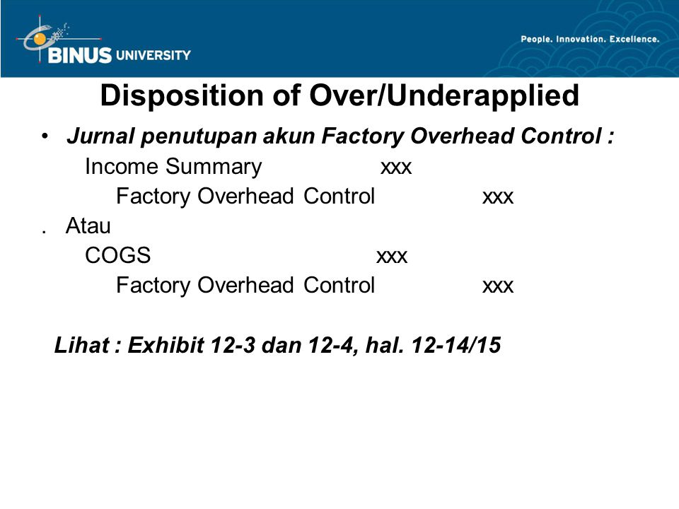 Disposition of Over/Underapplied