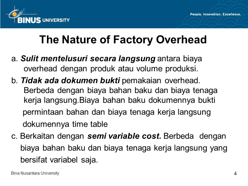 The Nature of Factory Overhead