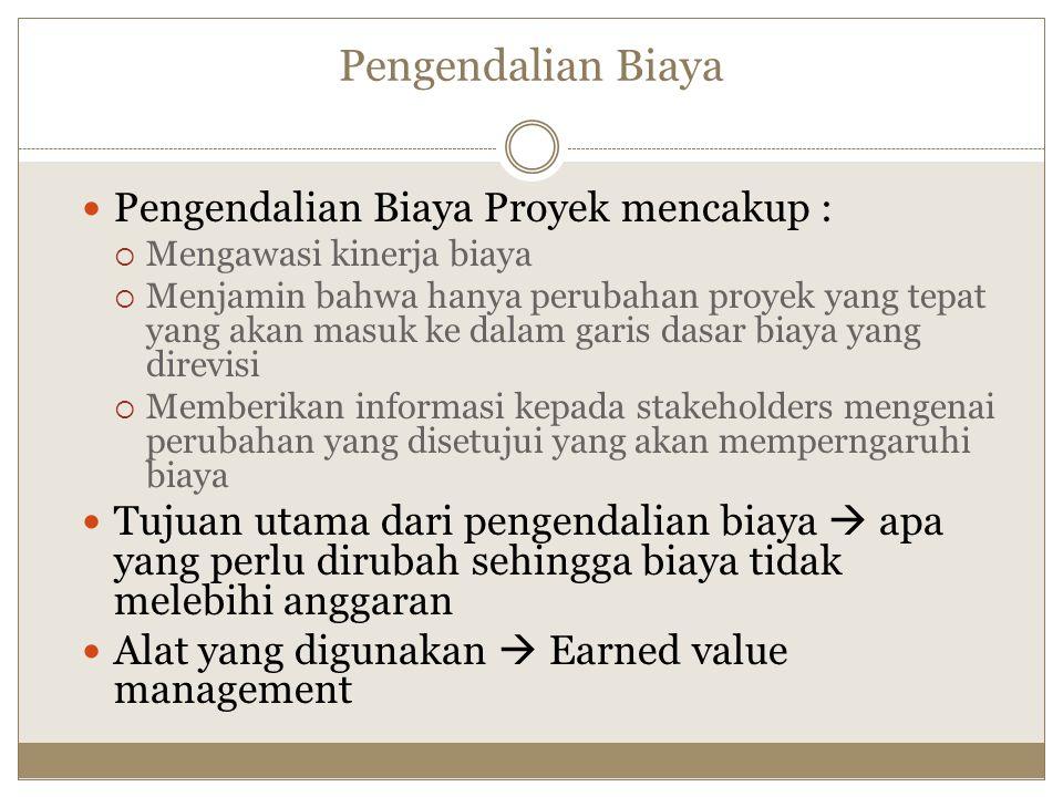 Pengendalian Biaya Pengendalian Biaya Proyek mencakup :