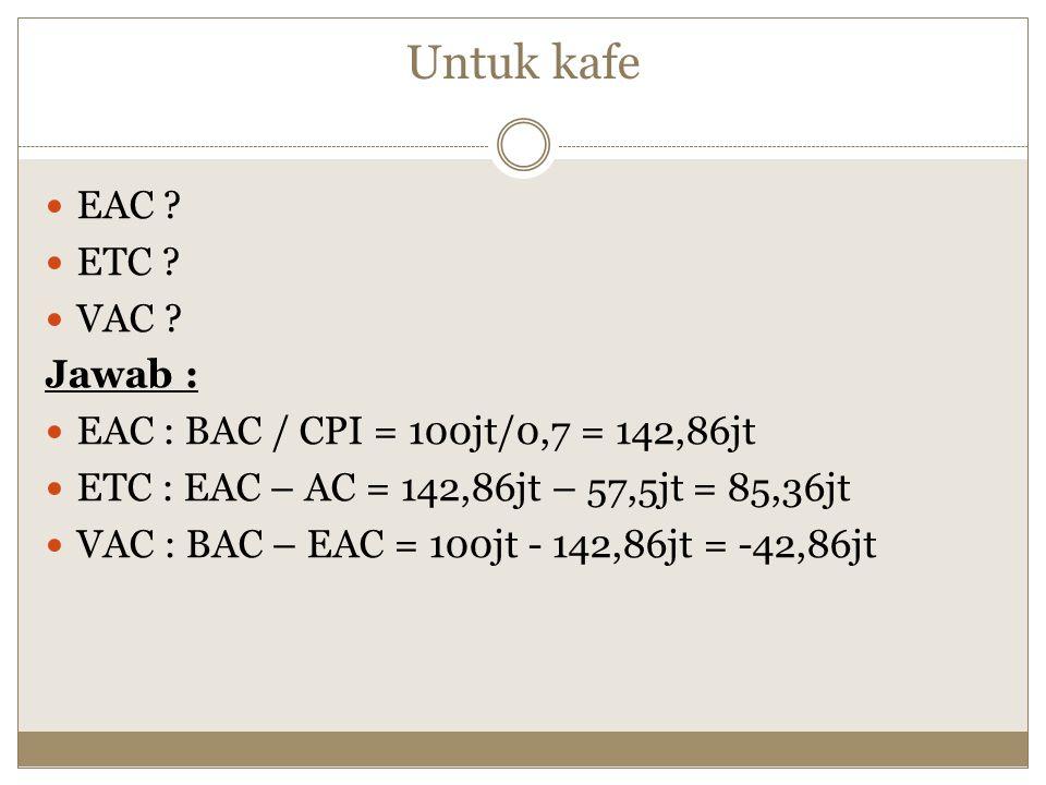 Untuk kafe EAC ETC VAC Jawab :