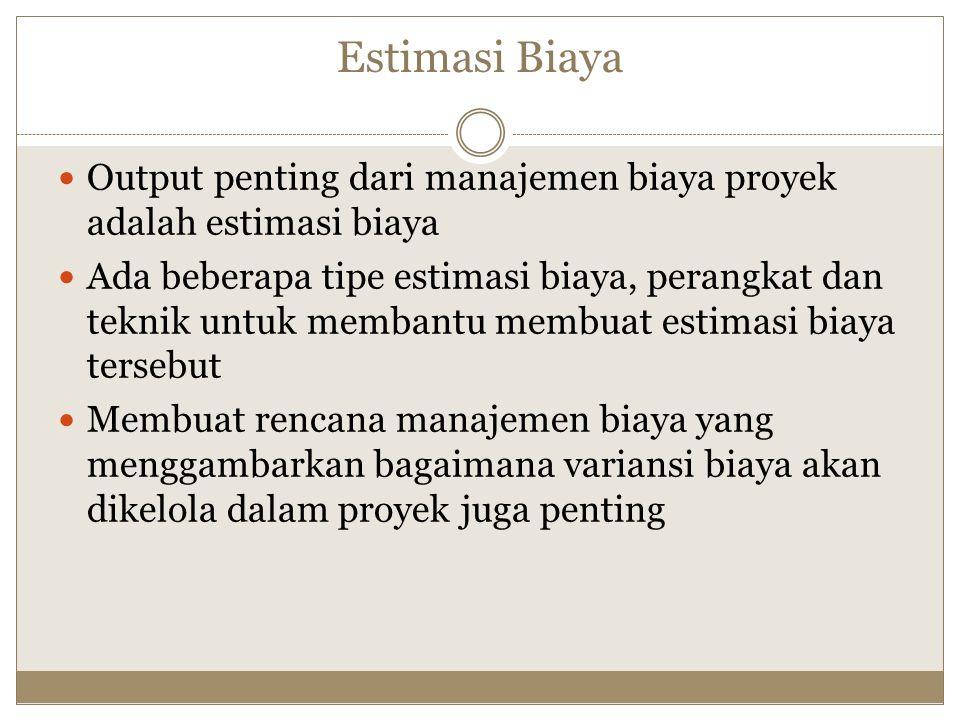 Estimasi Biaya Output penting dari manajemen biaya proyek adalah estimasi biaya.