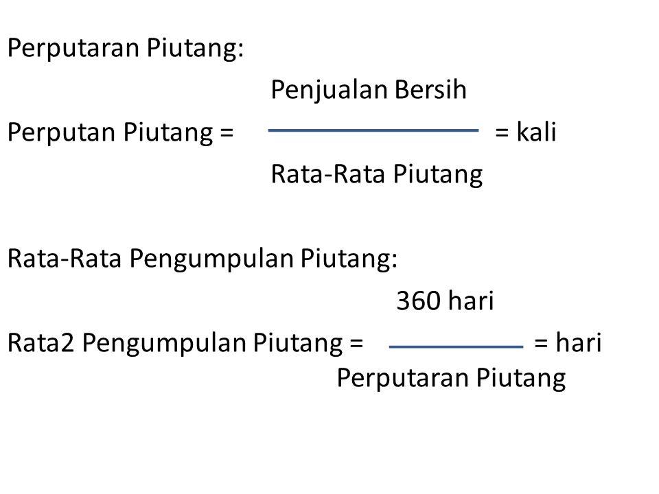 Perputaran Piutang: Penjualan Bersih Perputan Piutang = = kali Rata-Rata Piutang Rata-Rata Pengumpulan Piutang: 360 hari Rata2 Pengumpulan Piutang = = hari Perputaran Piutang