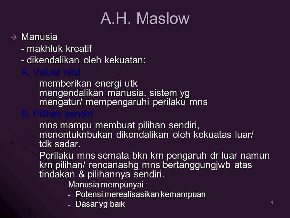 A.H. Maslow Manusia - makhluk kreatif - dikendalikan oleh kekuatan: