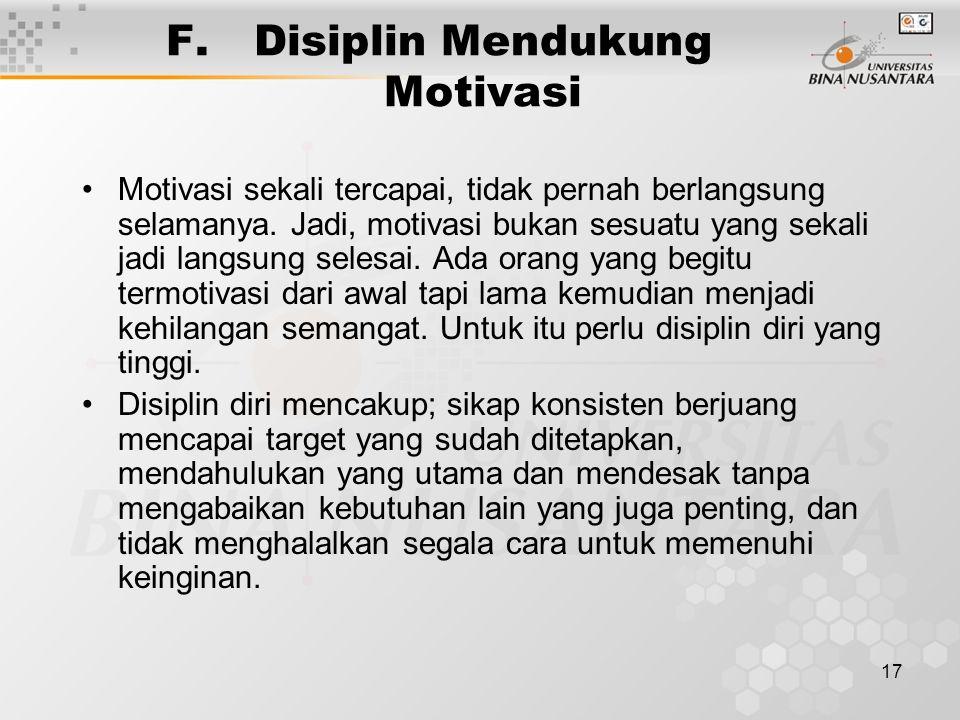 Disiplin Mendukung Motivasi