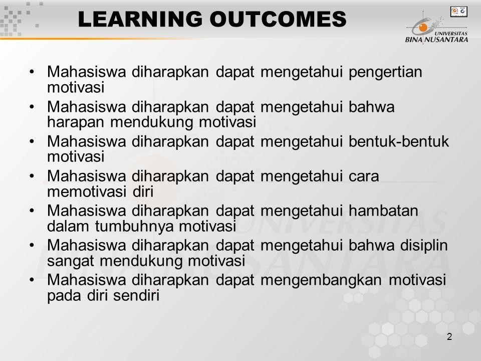 LEARNING OUTCOMES Mahasiswa diharapkan dapat mengetahui pengertian motivasi. Mahasiswa diharapkan dapat mengetahui bahwa harapan mendukung motivasi.