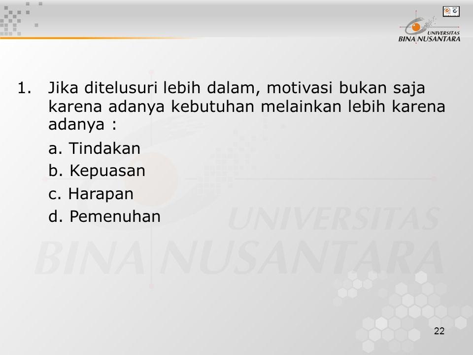 1. Jika ditelusuri lebih dalam, motivasi bukan saja karena adanya kebutuhan melainkan lebih karena adanya :