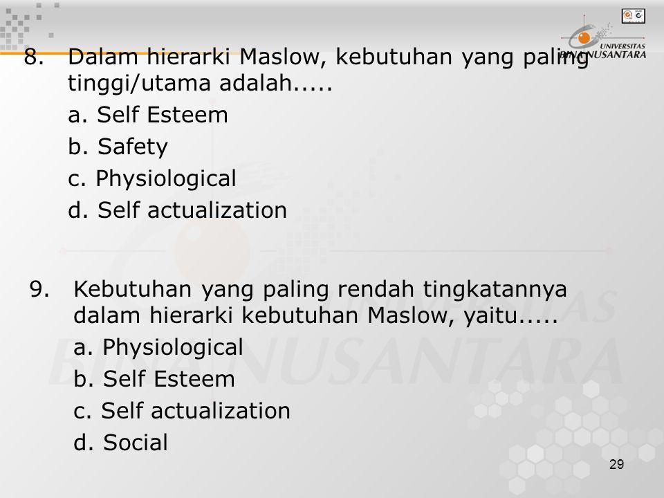 8. Dalam hierarki Maslow, kebutuhan yang paling tinggi/utama adalah.....