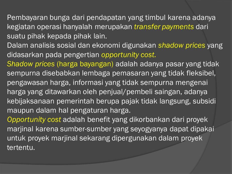 Pembayaran bunga dari pendapatan yang timbul karena adanya kegiatan operasi hanyalah merupakan transfer payments dari suatu pihak kepada pihak lain.