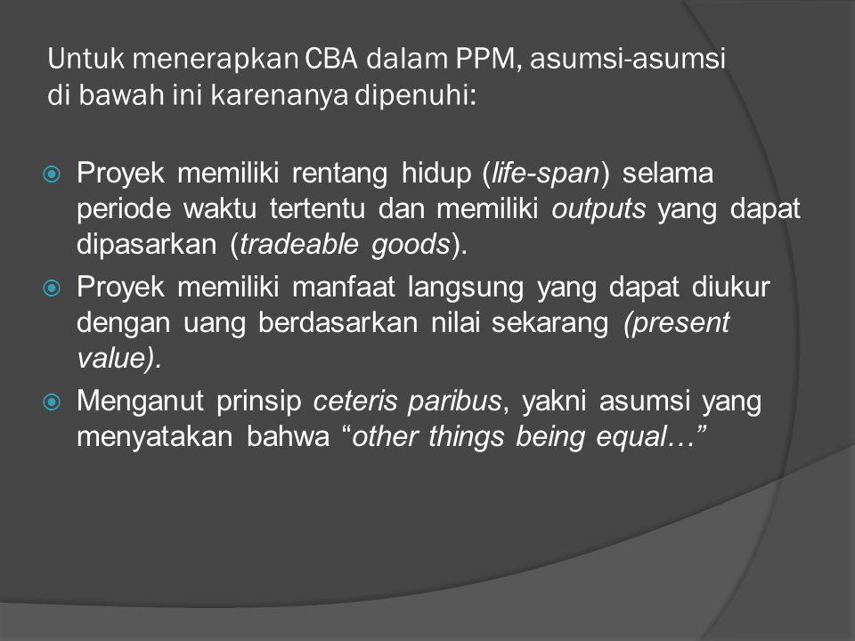 Untuk menerapkan CBA dalam PPM, asumsi-asumsi di bawah ini karenanya dipenuhi: