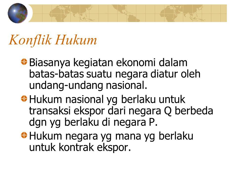 Konflik Hukum Biasanya kegiatan ekonomi dalam batas-batas suatu negara diatur oleh undang-undang nasional.