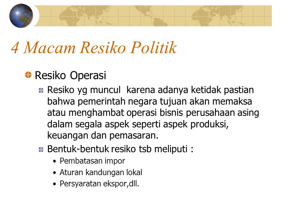 4 Macam Resiko Politik Resiko Operasi