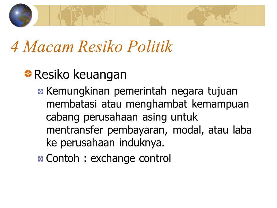 4 Macam Resiko Politik Resiko keuangan