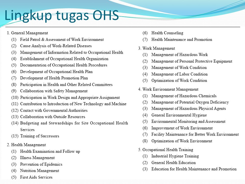 Lingkup tugas OHS
