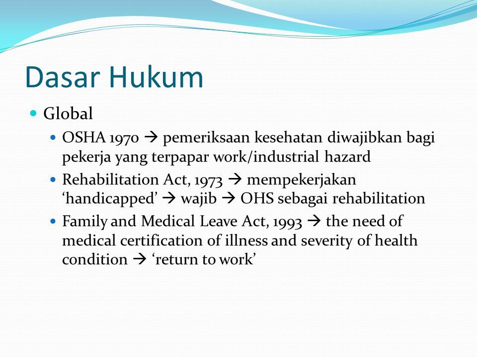 Dasar Hukum Global. OSHA 1970  pemeriksaan kesehatan diwajibkan bagi pekerja yang terpapar work/industrial hazard.