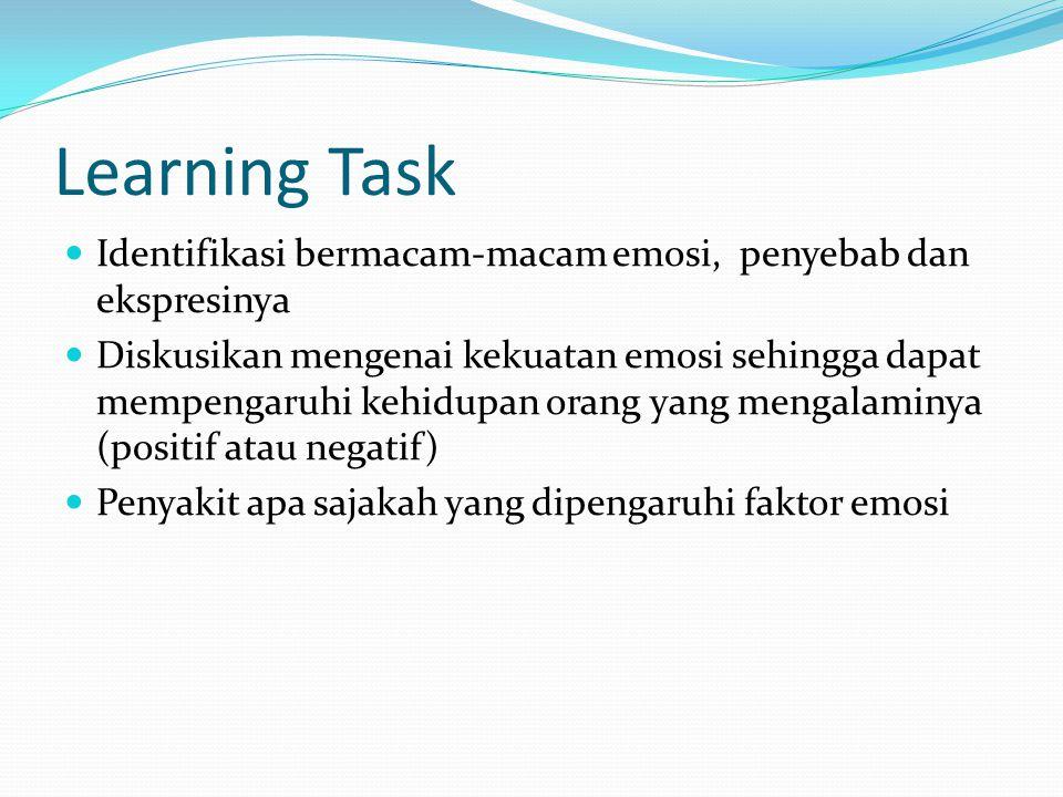 Learning Task Identifikasi bermacam-macam emosi, penyebab dan ekspresinya.