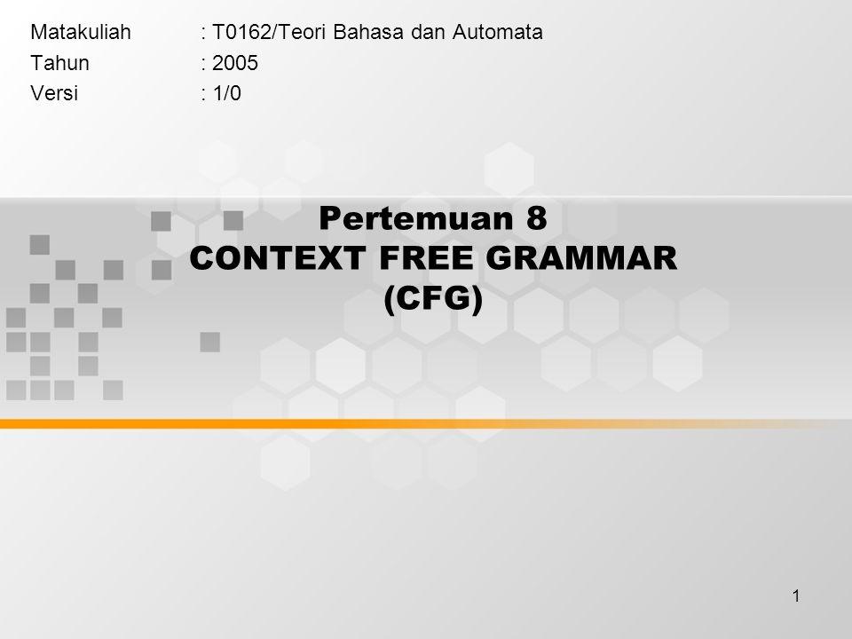 Pertemuan 8 CONTEXT FREE GRAMMAR (CFG)