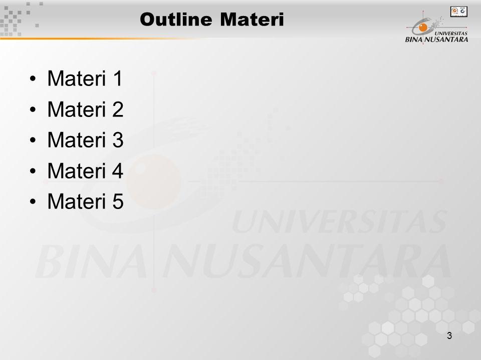 Outline Materi Materi 1 Materi 2 Materi 3 Materi 4 Materi 5