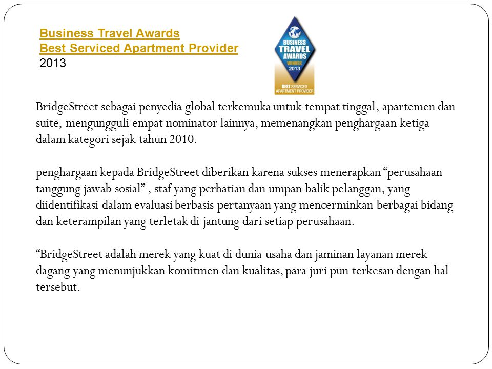 Business Travel Awards Best Serviced Apartment Provider 2013