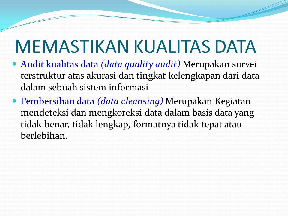 MEMASTIKAN KUALITAS DATA