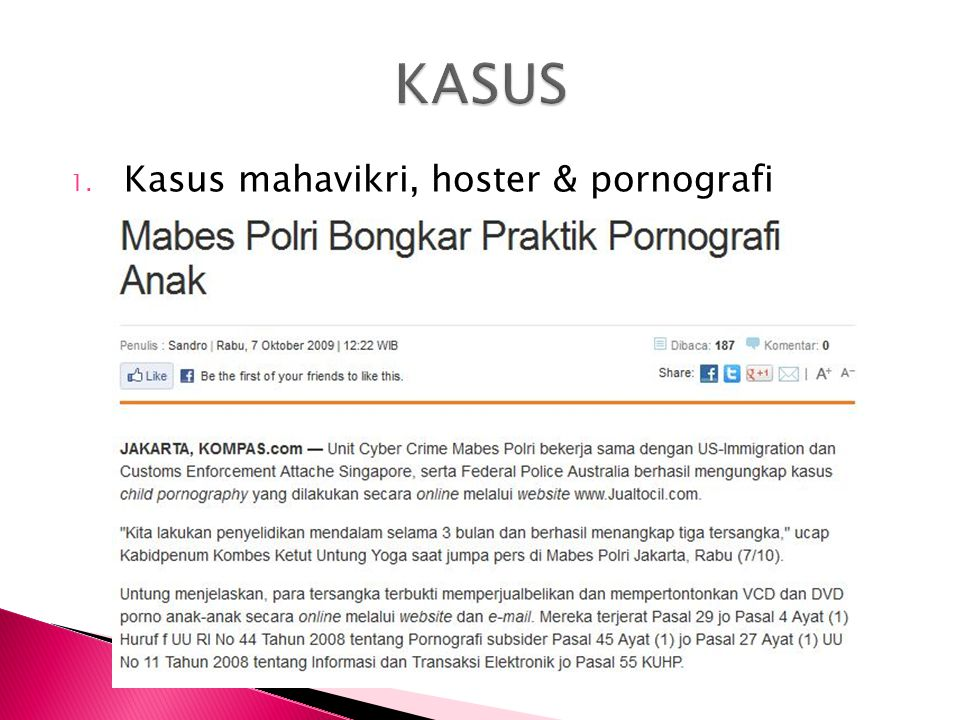 KASUS Kasus mahavikri, hoster & pornografi