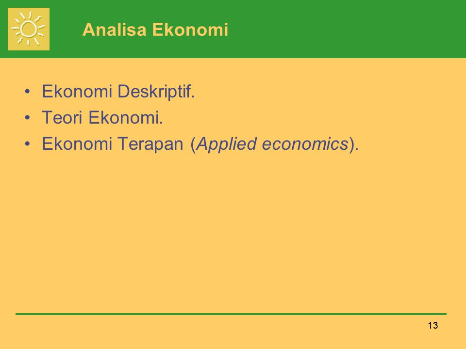 Ekonomi Terapan (Applied economics).