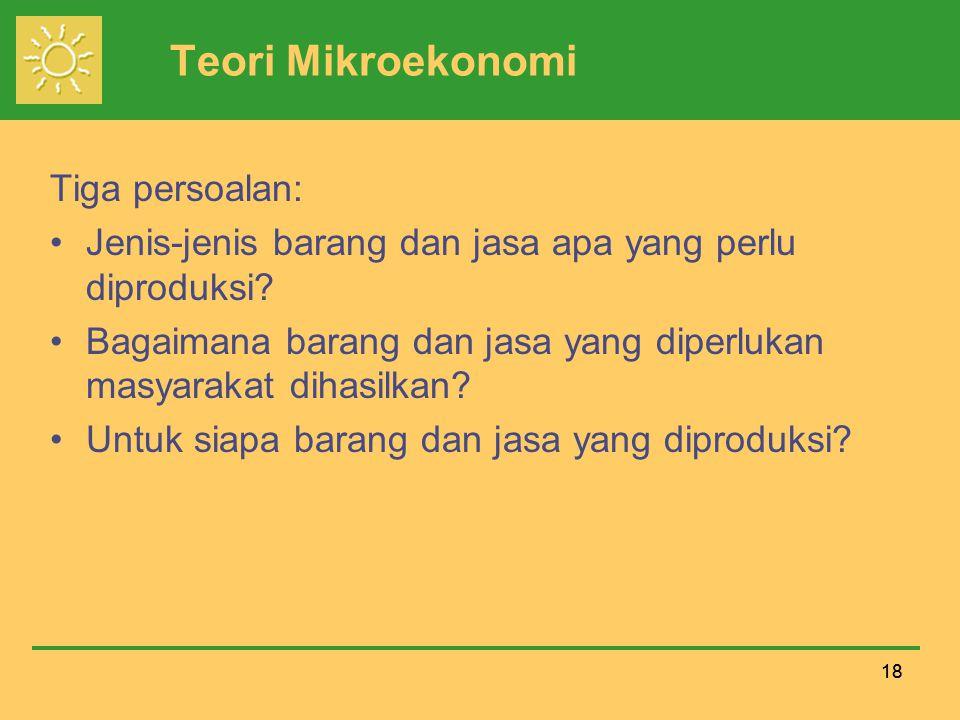 Teori Mikroekonomi Tiga persoalan: