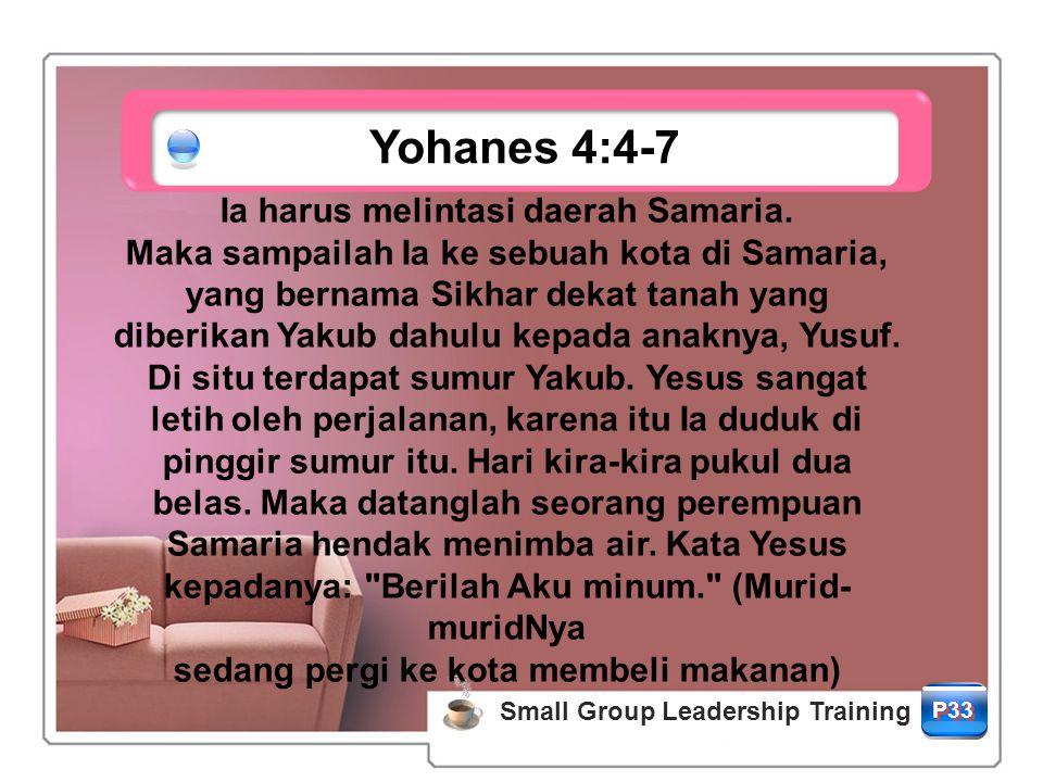 Yohanes 4:4-7 Ia harus melintasi daerah Samaria.