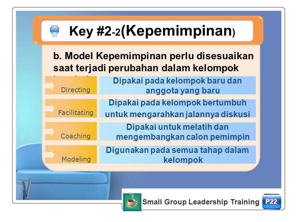 Key #2-2(Kepemimpinan) b. Model Kepemimpinan perlu disesuaikan saat terjadi perubahan dalam kelompok berubah.