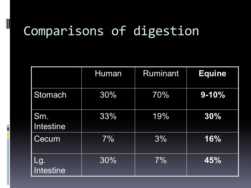 Comparisons of digestion