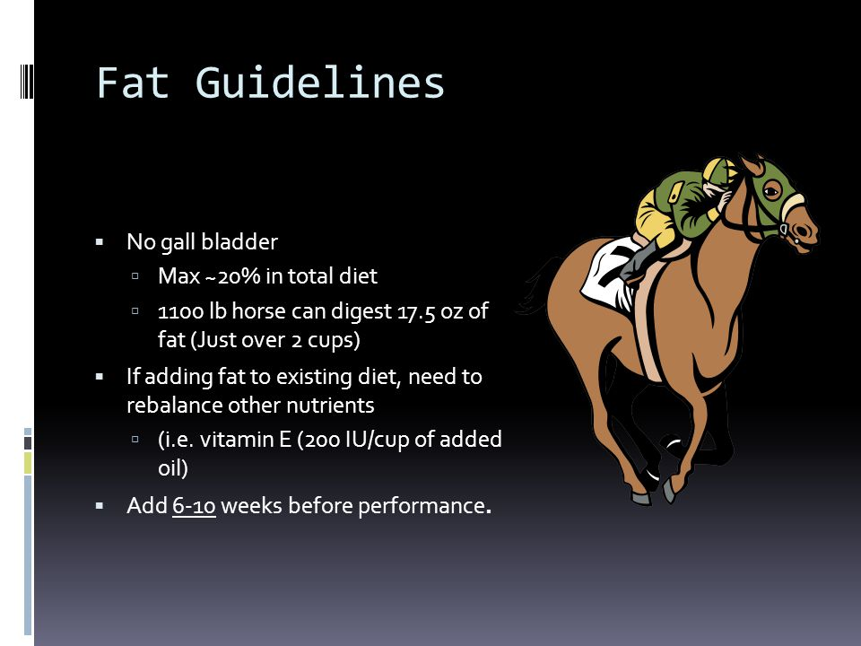 Fat Guidelines No gall bladder Max ~20% in total diet