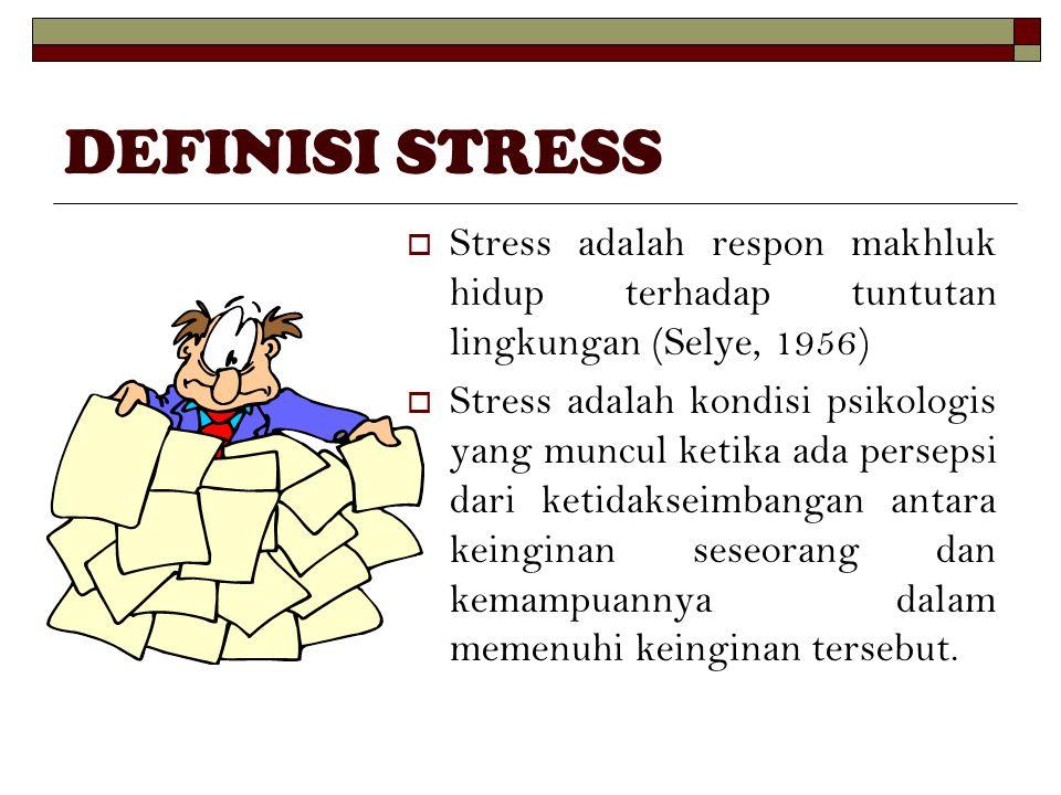 DEFINISI STRESS Stress adalah respon makhluk hidup terhadap tuntutan lingkungan (Selye, 1956)