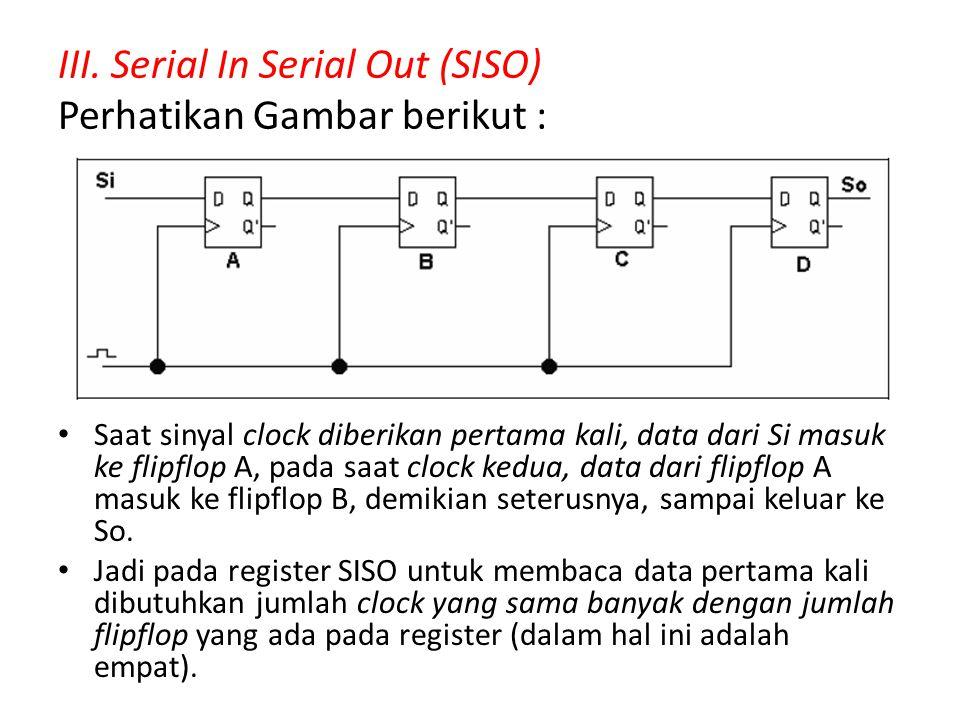 III. Serial In Serial Out (SISO) Perhatikan Gambar berikut :
